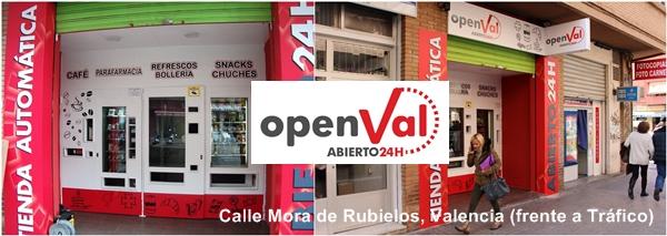tiendas vending 24  horas en Valencia, frente a Tráfico.