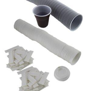 vasos plastico, tapas y paletinas estuchadas