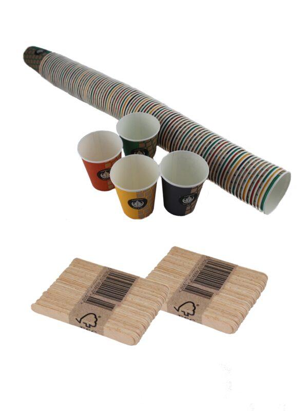 vasos cartón y paletinas haya