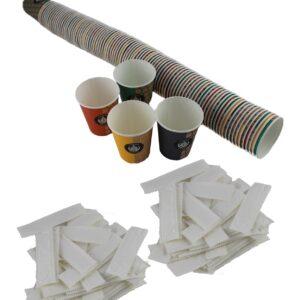 vasos cartón y paletinas estuchadas