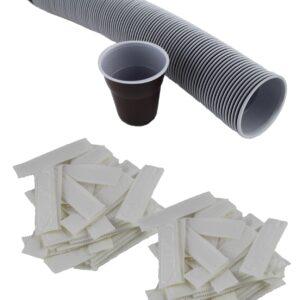vasos plastico, tapas y paletinas estuchada