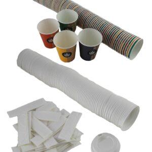 vasos cartón, tapas y paletinas estuchadas
