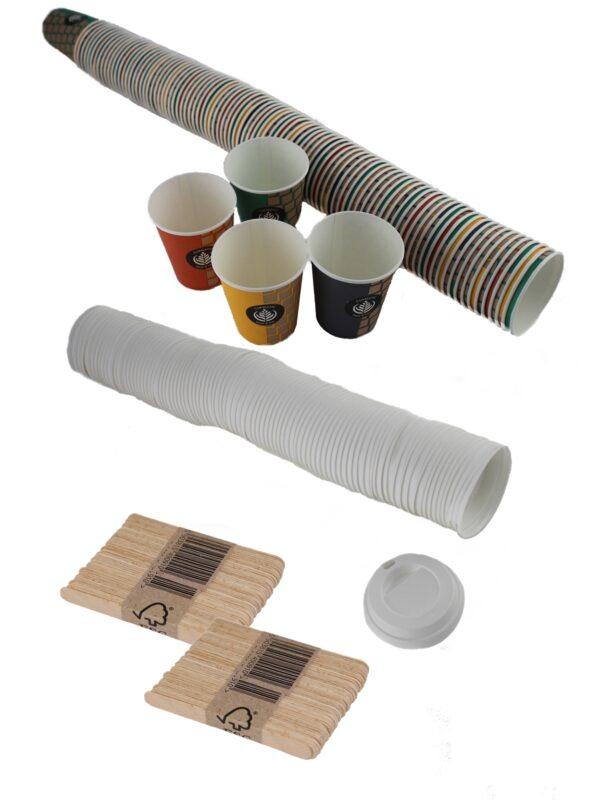 vasos cartón, tapas y paletinas haya